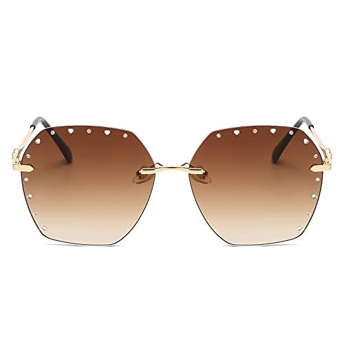 Ahueca hacia fuera las gafas de sol del polígono del diamante punteado gafas de sol sin marco para hombres y mujeres