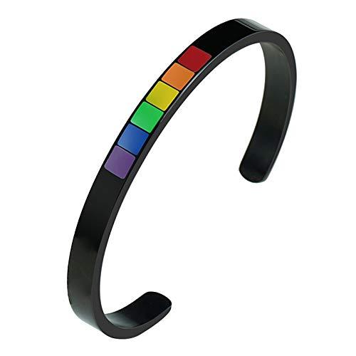 Nobranded Pulsera de Acero Inoxidable Rainbow Pride Gay LGBT Regalo Bisexual Transgénero - Negro