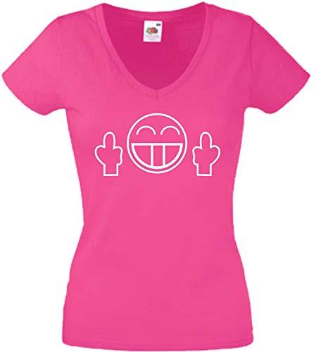 JINTORA T-Shirt - Chemise Femme Rose - V-Cou - Taille M - Smile Vous baise - JDM/La Coupe - pour la fête Carnaval Travail et Loisirs