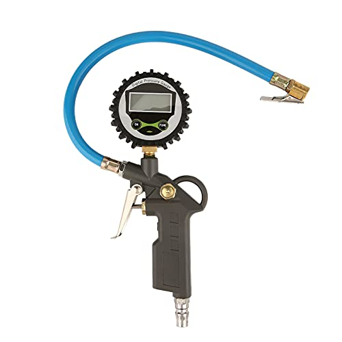 Jomiaeslion Inflador de neumáticos Digital, Dispositivo de medición de inflado de neumáticos con manómetro de 16 Bar / 230 PSI Pantalla precisa de la presión de los neumáticos Llave a batería Bomba