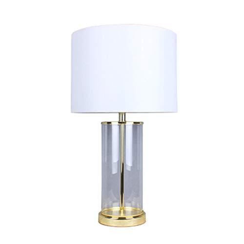 Minimalistische tafellamp van Amerikaans glas – corpus – lampenkap van linnen – hardware – leeslamp – slaapkamerlamp