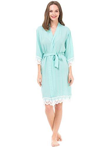Mr & Mrs Right Damen Kimono Bademantel aus Baumwolle für Braut und Brautjungfer mit Spitzenbesatz -  Grün -  X-Small / 4-6 US