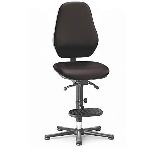 bimos Arbeitsdrehstuhl mit ESD-Schutz - mit Permanentkontakt - Gleiter, Aufsteighilfe, Kunstlederbezug schwarz - Arbeitsdrehstuhl Arbeitsstuhl Drehstuhl ESD-Arbeitsstuhl Polsterstuhl Stuhl