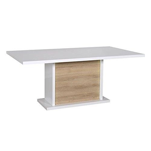 Tousmesmeubles Table de Repas à allonge Blanc/Chêne Clair à LEDs - Marks - L 180/225 x l 100 x H 76 - Neuf