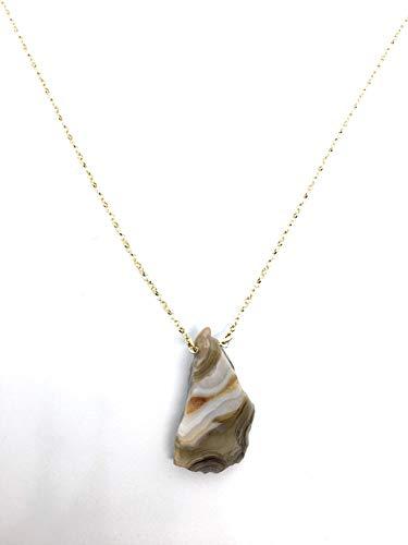 Colgante de agata de fuego con cadena de plata de ley chapada en oro