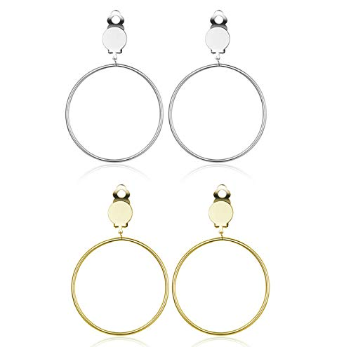 2 Pairs Clip On Earrings Hoop Non-Pierced Hoop Earrings Set for Women Silver Tone and Gold Tone