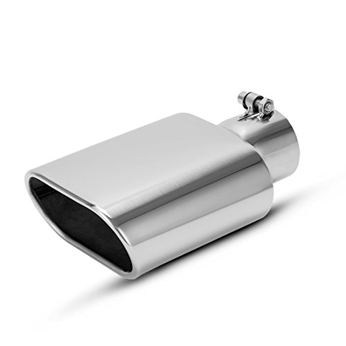 "AUTOSAVER88 2.5 Inch Inlet Square Exhaust Tip, Chrome Polished Diesel Exhaust Tip, Bolt On Design, 2.5"" Inlet, 5.5""x3""Outlet, 9"" Long."