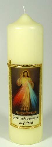 Jesus Kerzen, Farbe elfenbein 25 x 7 cm - 3815 - Gedenkkerze mit Motiv Jesus, Spruch und mit Karton zur Aufbewahrung.