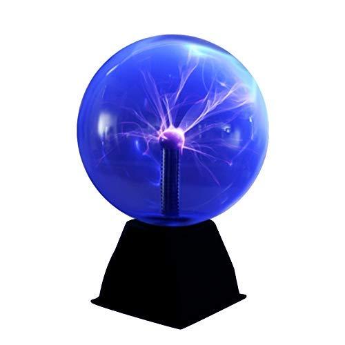 DAXGD Luz de bola de plasma, luz de plasma mágica de 5 pulgadas, lámpara estática de globo táctil bola de plasma sensible al sonido, 220V, luz azul