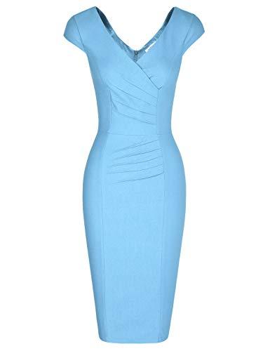 MUXXN Audrey Hepburn 1960s Style V Neck Empire Waist Casual Cute Light Blue Dress (Airy Blue XXL)