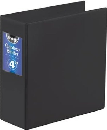 Find It Heavy Duty Flat Binder, 4 Inches, Non-View, Black (FT07094)