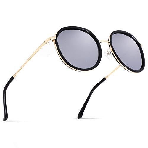 Cyxus Sonnenbrille Damen, Verspiegelt Polarisiert TAC Silber Brillenglas, Vintage Rund Groß Sonnenbrille