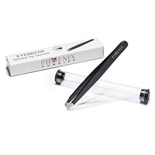 Pinzette zum Augenbrauen zupfen mit Profi Präzisionsspitze inkl. Schutzhülle in Premium Qualität für Haarentfernung - schräg 9,5cm - Edelstahl