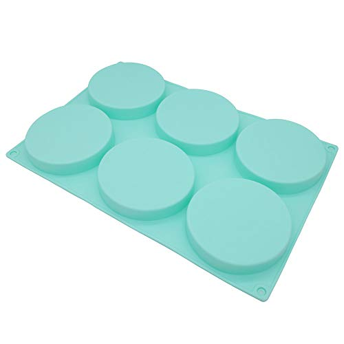 6-Cavity Large Cake Molds Silicone Round Disc Resin Coaster Mold Non-Stick Baking Molds, Mousse Cake Pan, French Dessert, Candy, Soap (Green)