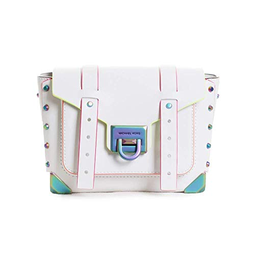 """100% leather; Neon hardware 8.75""""W X 5.5""""H X 3.25""""D; Adjustable strap: 19""""-21"""" Exterior details: 3 back card slots, front slip pocket; Lining: 100% polyester Flip-lock fastening; Dust bag included Style Number: 30T9TNCM1L; Imported"""