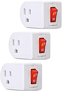 Electes 3 Prong Grounded Single Port Power Adapter with Red Indicator On/Off switch {Value! 3 Pack}