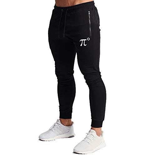 Wangdo Men's Joggers Sweatpants Gym Training Workout Pants Slim Fit with Zipper Pockets(Black-M)