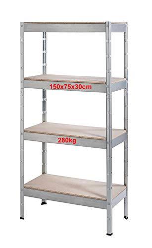 Schwerlastregal Regal Steckregal 4 Böden 150x75x30cm 280kg Traglast