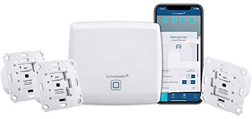 Homematic IP Access Point - Smart Home Gateway mit kostenloser App und Sprachsteuerung über Amazon Alexa + 3x Rollladenaktor für Markenschalter, intelligente Steuerung von Rollläden und Markisen