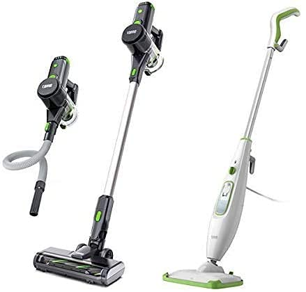 TOPPIN Stick Vacuum Cleaner VC002 with 23Kpa Powerful Suction and TOPPIN Handheld Steam Mop with 2 Steam Mop Pads