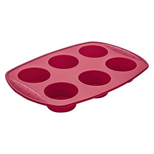Forma para 6 Mini Bolos Redondos, Silicone, Vermelho, Euro