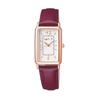 agnes b.(アニエスベー) 長方形のケースにダイヤルのミニッツレールがクラシカルな雰囲気の腕時計 (FCSK915/ボルドーレッド)
