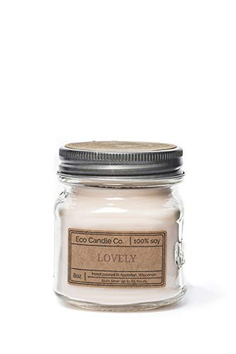 Eco Candle Co. Mason Jar Candle, Lovely, 8 oz. - Scents of Lavender, Rosewood, Orchid, Bergamot, Cedarwood, & Musk - 100% Soy Wax, No Lead, Kraft Label & Antiqued Pewter Lid, Hand Made