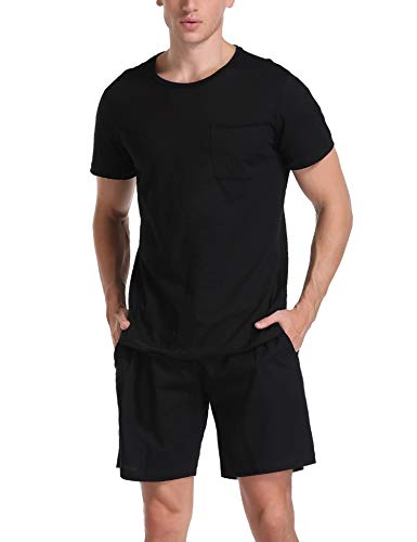 Aibrou Schlafanzug Herren kurz Sommer Shorty Pyjama Kurzarm Baumwolle Nachtwäsche Hausanzug Sleepwear für Männer Schwarz L