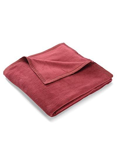 myHomery Uni Kuscheldecke aus Baumwolle - Decke fürs Sofa - Wolldecke warm & kuschelig - Sofadecke XL Bordeaux | 150x200 cm