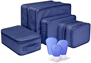 JB Travel Packing Cubes 6 Piece Organizers with shoe bag & 3 TSA Travel Size Bottles. Washable & Light Weight Pods. Qualit...