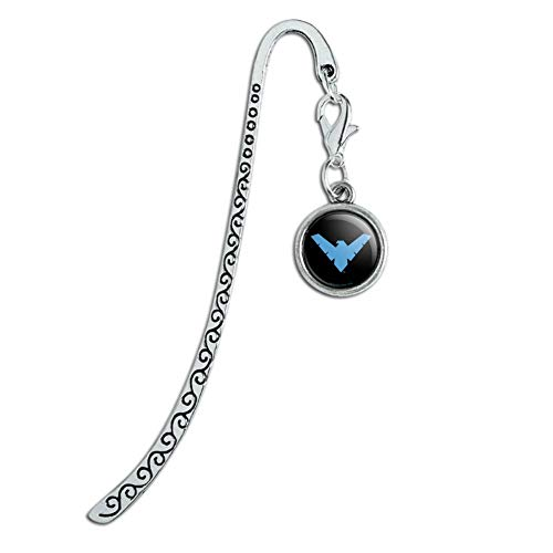 Batman Nightwing Logo Metal Bookmark Page Marker with Charm