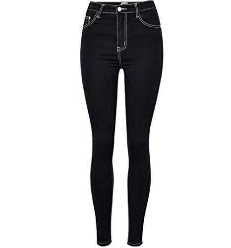 XinXinFeiEr Estiramiento Delgada Cintura Delgada Y Gris Pantalón De Lona Negro Medias De La Cadera Casual (Color : Black, Size : 38)