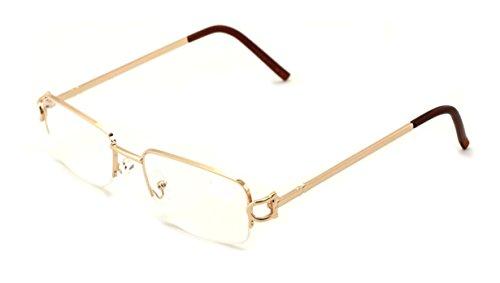 V.W.E. Rectangular Frame Clear Lens Designer Half Rim Eye Glasses (Gold)