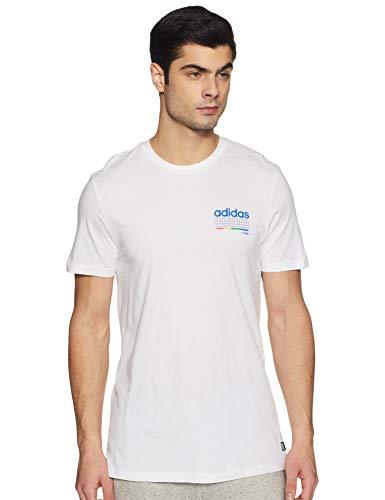 adidas Dodson tee Camiseta, Hombre, Blanco/Azul/Verde/Correa, XS