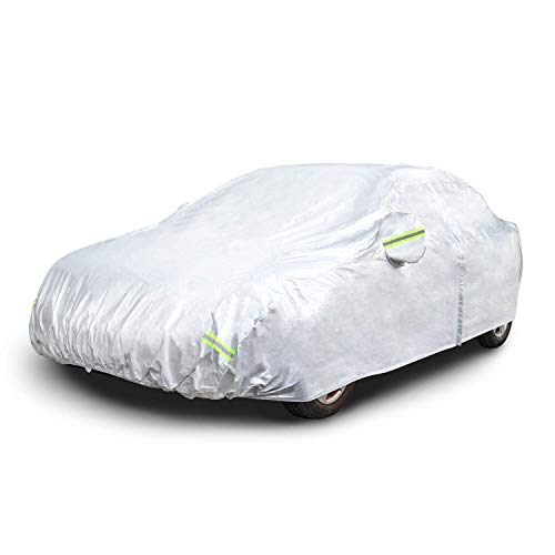 AmazonBasics Silver Weatherproof Car Cover - PEVA with Cotton, Sedans up to 160""