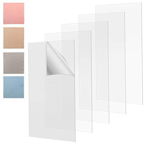 5 Pieces Transparent Clear Acrylic Sheet 8 x 10 Inches 0.03 Inches Thick Plastic Acrylic Board with Protective Paper and 4 Glasses Cloth for Picture Frame Glass Replacement DIY Painting Signs