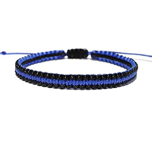 LCISCOUP Pulsera 2 unids Línea Azul Delgada Policía Marido Boyfriend Hombres Joyería Cuerda de Encaje Pulsera Día del Padre Regalo (Color : 1)