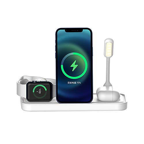 LAHappy Cargador Inalámbrico 3 en 1, Estación de Carga Inalámbrica para iPhone 12/12 Pro/12 Pro Max/12 Mini/11/11 Pro MAX/X/XS MAX, Apple Watch Series, AirPods Pro, con Luz de Noche