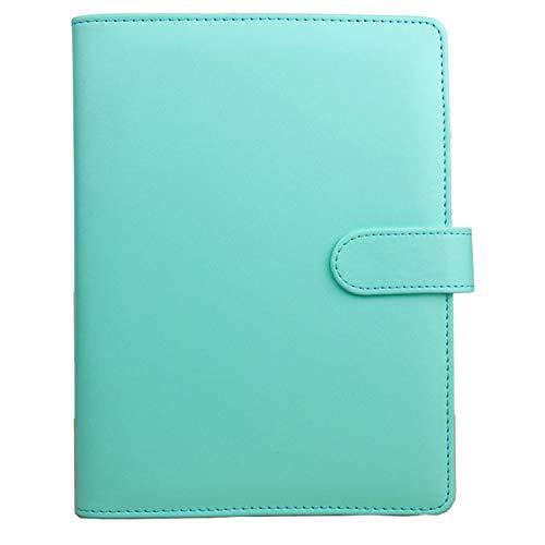 Agenda A6 Anillas Recargable, Planificador Personal Carpeta de Cuaderno Espiral de 6 Anillos con Botón Magnético, Bolsillo y Bolígrafos Bucle(Verde) ⭐