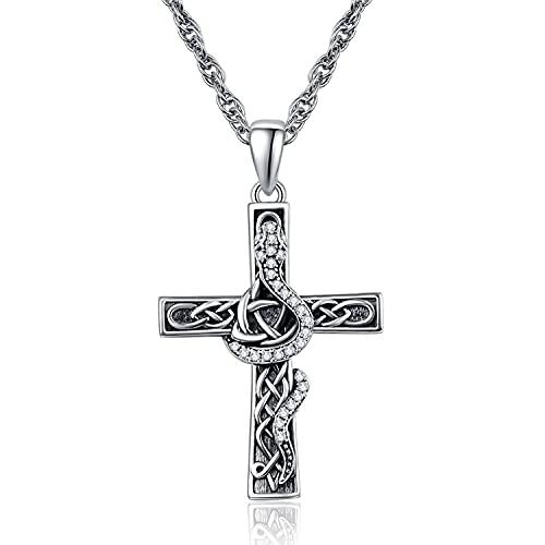 Cruz collar de plata de ley 925 con colgante de serpiente, regalo religioso cristiano para mujeres y hombres