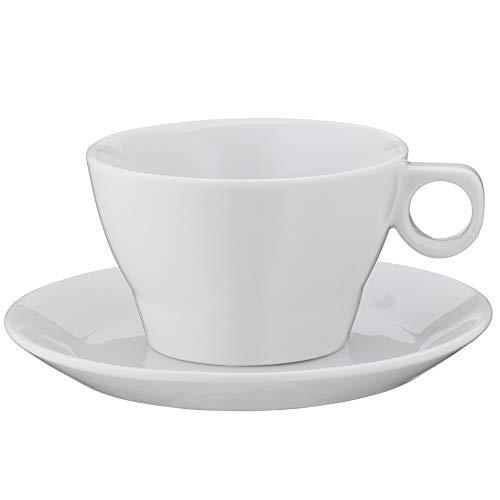 WMF Barista Cappuccinotasse 150 ml, Kaffeetasse mit Untertasse, Kaffeeglas, Porzellan, spülmaschinengeeignet