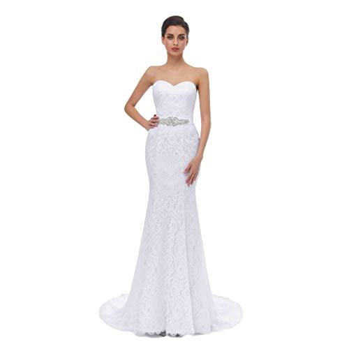 HUICHENGYAO White Floor Length Lace Sweetheart Prom Evening Dress For Women,White,Size 8