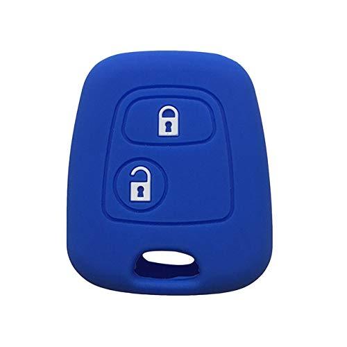 Funda protectora de silicona para llave de coche, compatible con Peugeot 206, 207, 307, 107, 406, 408, color azul