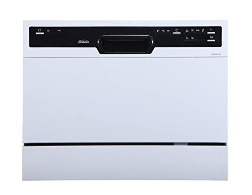 Sunbeam DWSB3607WW Portable Countertop Dishwasher with Rinse Aid Dispenser, White