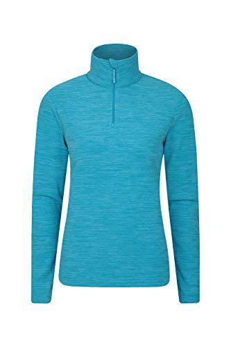 Mountain Warehouse Snowdon Damen-Fleecejacke - Antipill, Leichter Pullover, halber Reißverschluss, atmungsaktives Sweatshirt, schnelltrocknend - zum Wandern, Reisen Türkis 40 DE (42 EU)