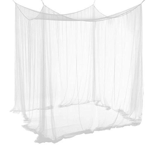 Qucover Baldachin aus Polyester, Schöner Betthimmel, Größe Mückennetz, Moskitonetz für Doppelbett, Weiß, 210 x 190 x 240 cm