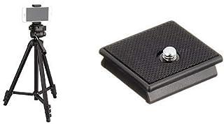 【セット買い】【Amazon限定ブランド】HAKUBA スマホ 三脚 W-312 ブラック 3WAY雲台 アルミ製 スマートフォンホルダーセット AMZW312HBK & クイックシュー W-312用 715101