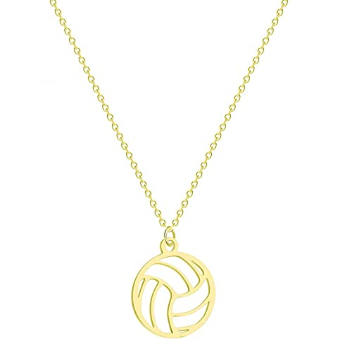 QiuYueShangMao Mode Volleyball Halskette Frauen Männer Ball Anhänger Sport Schmuck Geschenke Volleyball Sport Fan Coach Halskette Vintage Halskette freundschaftsketten Geschenk