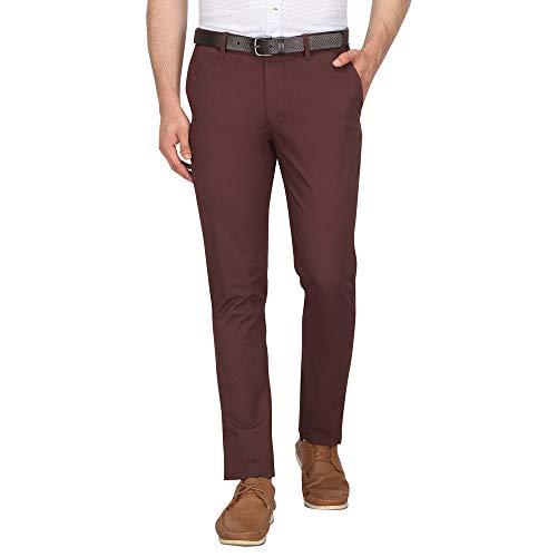 Indian Terrain Men's Skinny Fit Casual Trousers (ITMTR00348_Choco_38W x 33L)