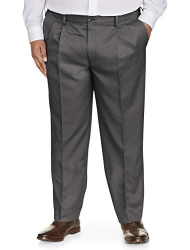 Amazon Essentials Men's Big & Tall Classic-Fit Wrinkle-Resistant Pleated Dress Pant, Dark Gray, 52W x 30L